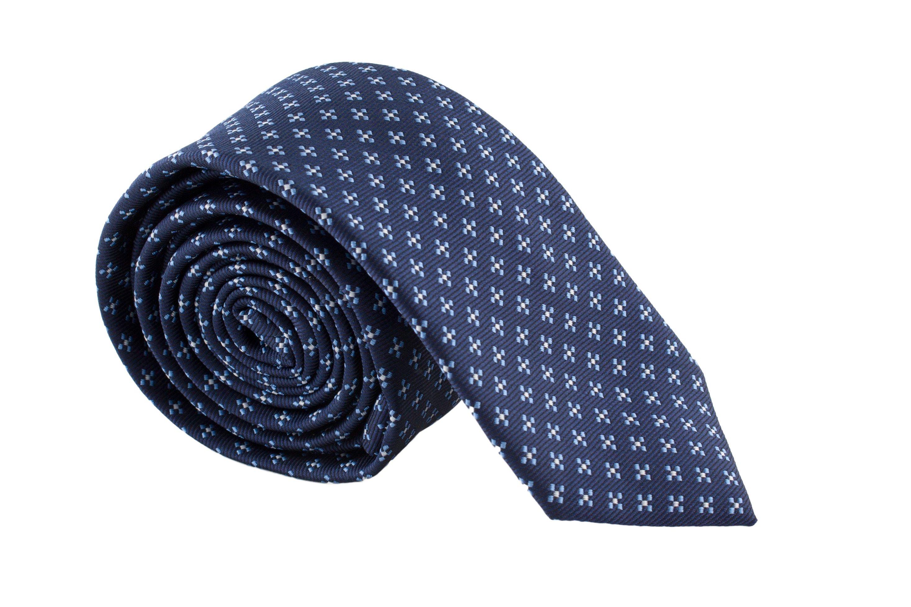Cravata Slim bleumarin cu model bleu