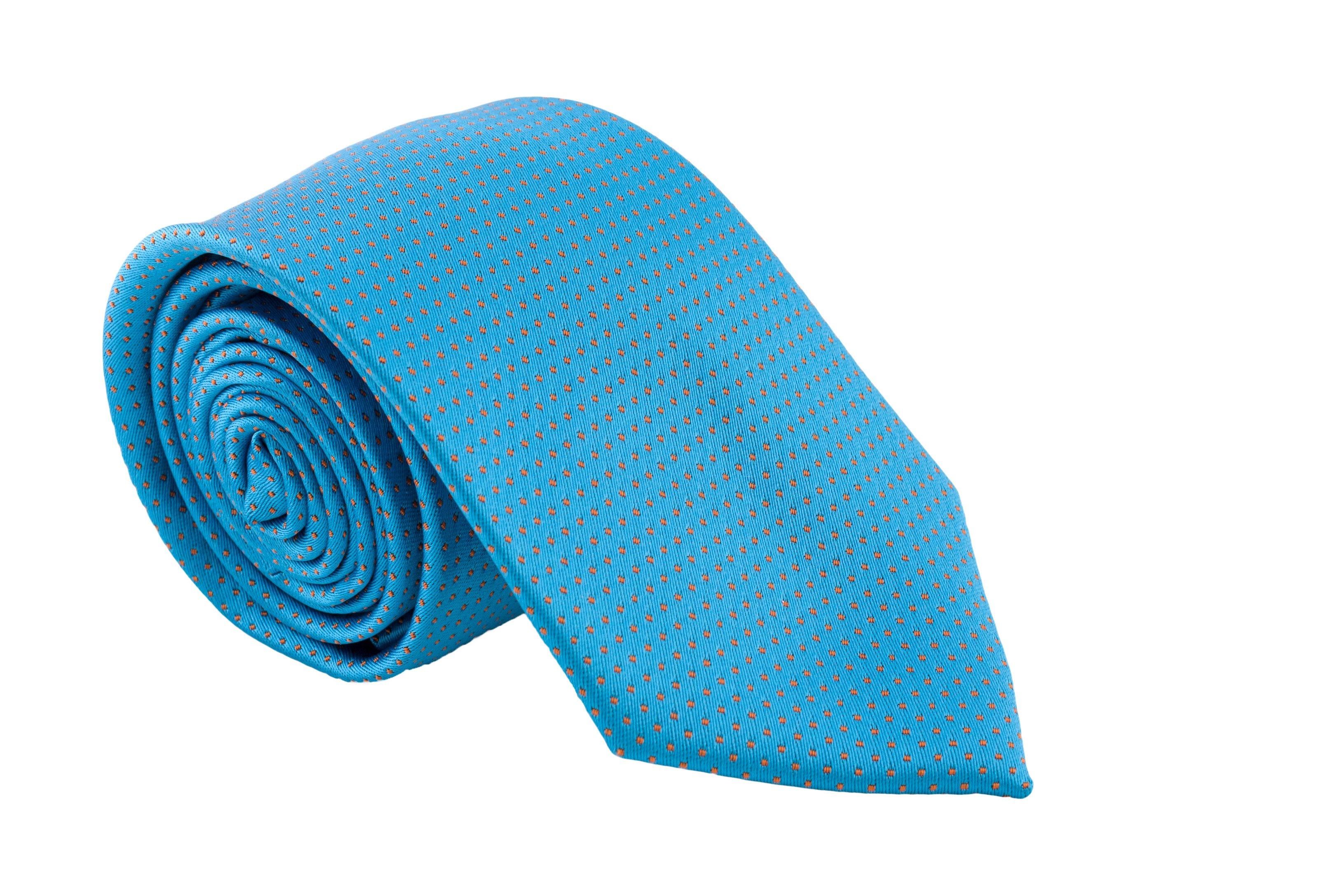 Cravata turcoaz cu picouri portocalii