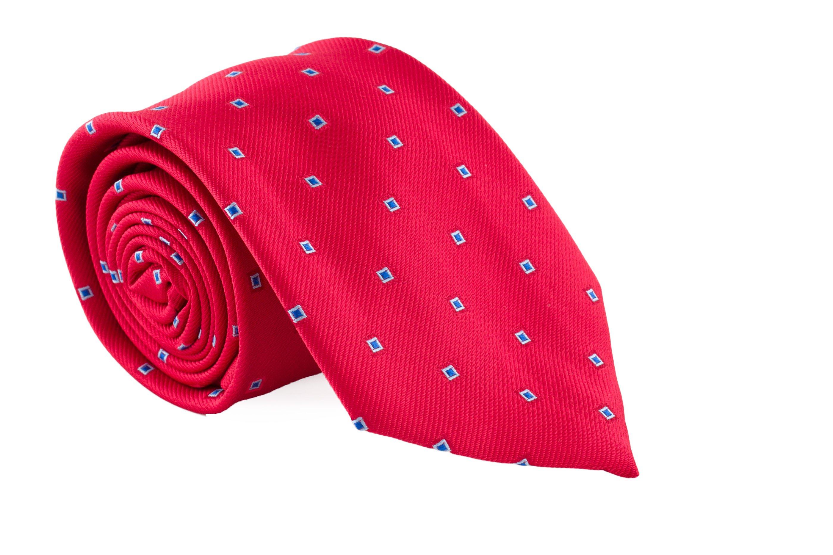 Cravata rosie cu patrate bleu