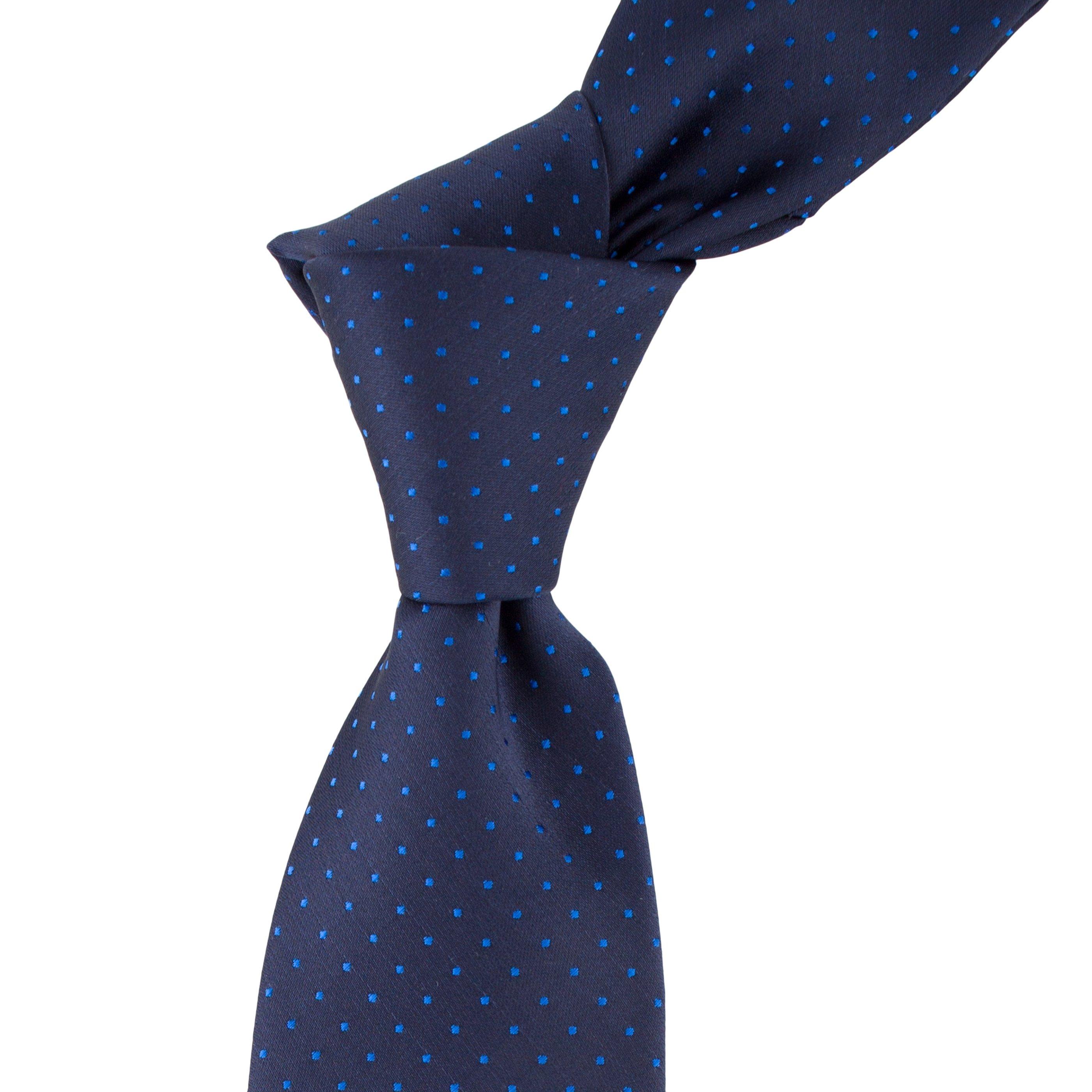 Cravata bleumarin cu picouri turcoaz