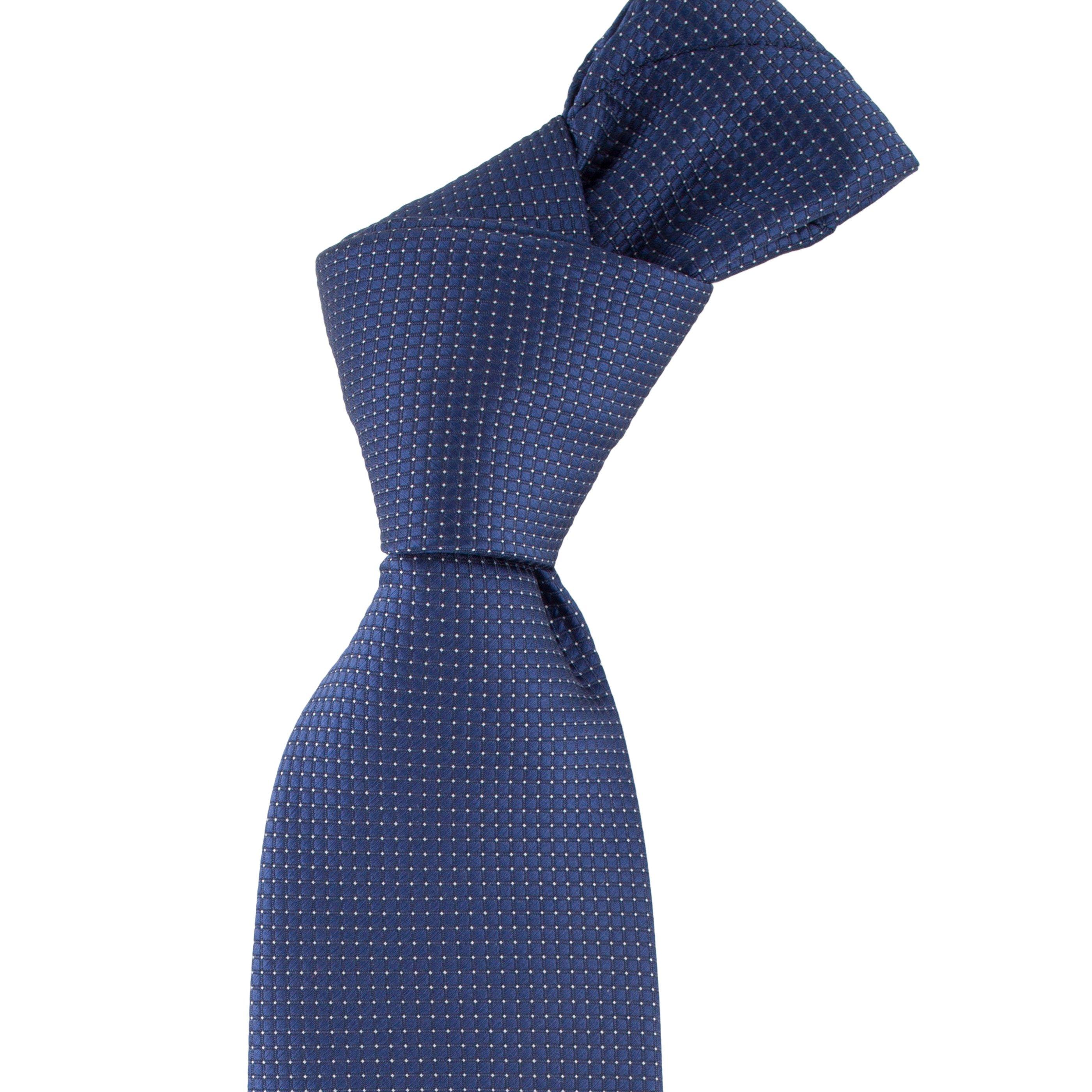 Cravata bleumarin cu picouri albe
