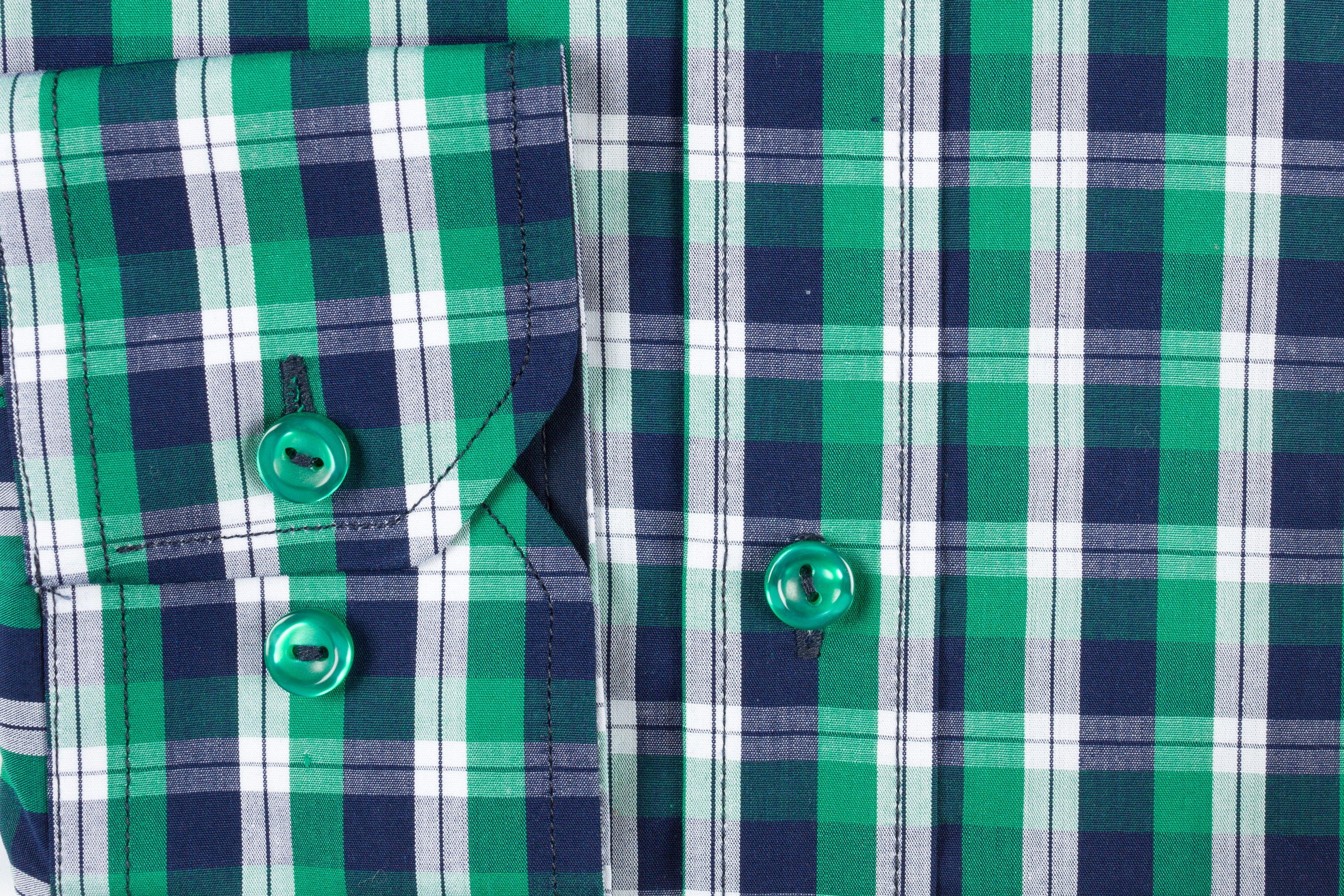 Camasa Slim Fit Green Squares