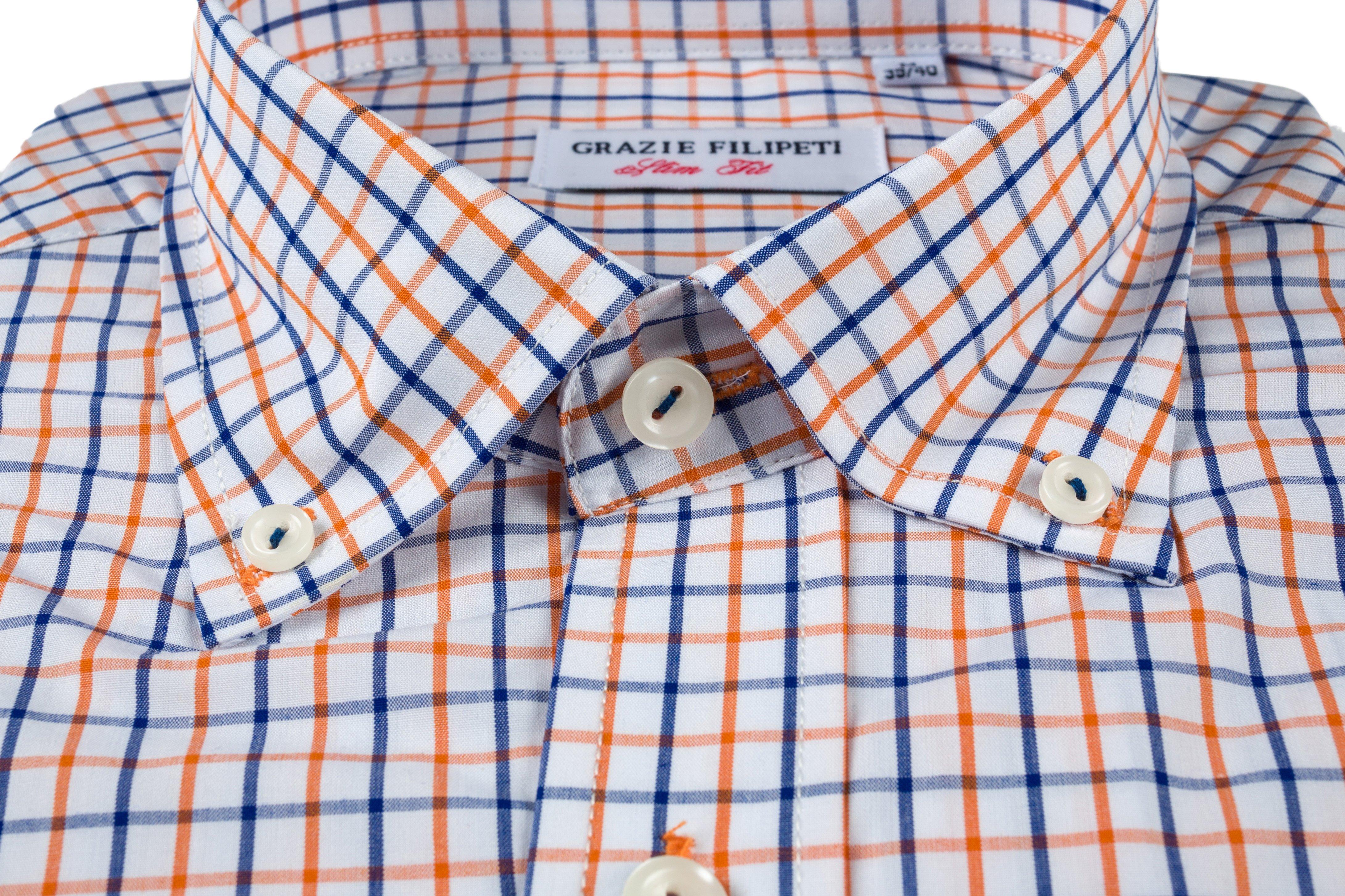 Camasa Slim Fit Blue and Orange Squares