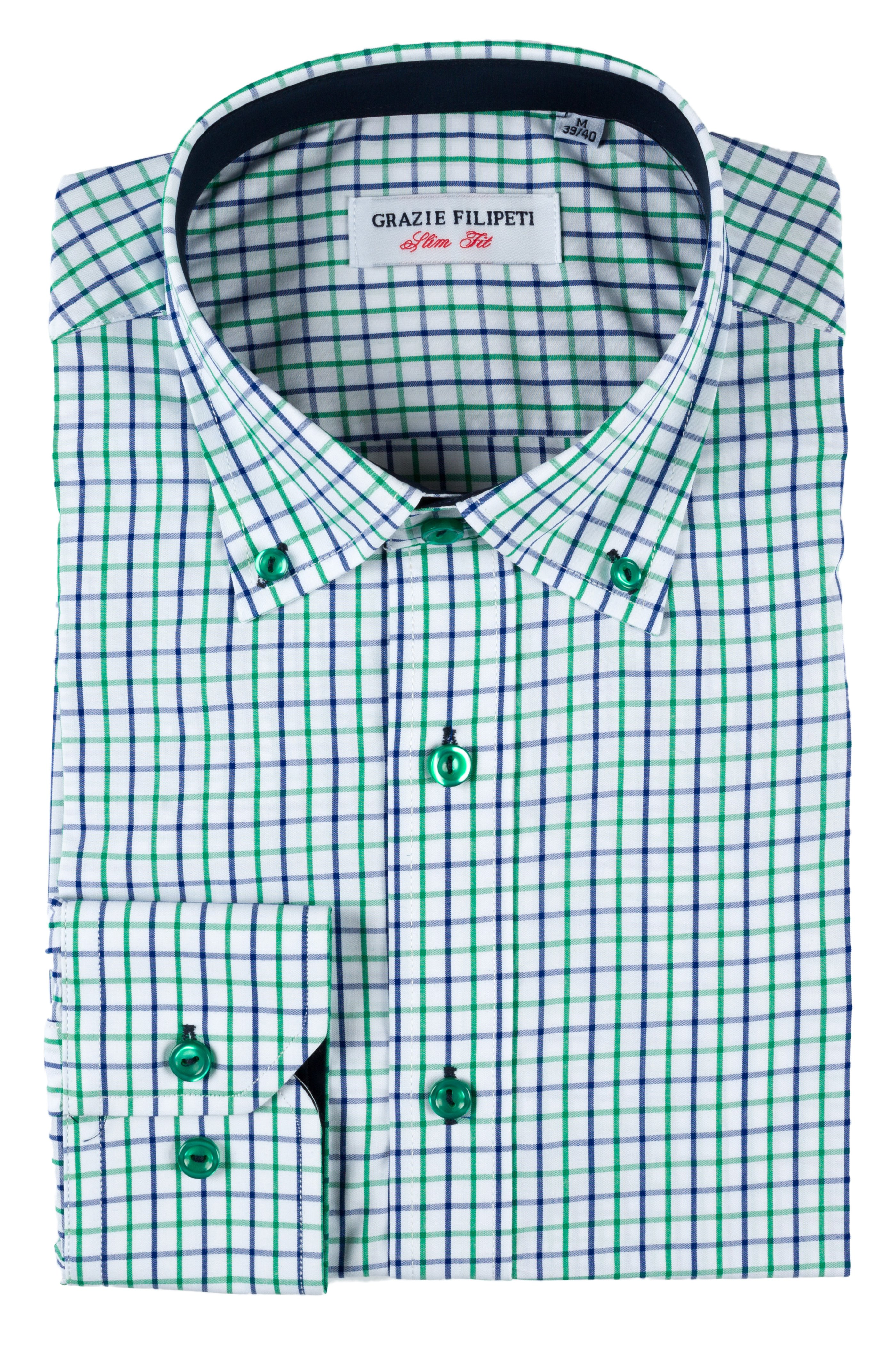 Camasa Slim Fit Blue and Green Squares