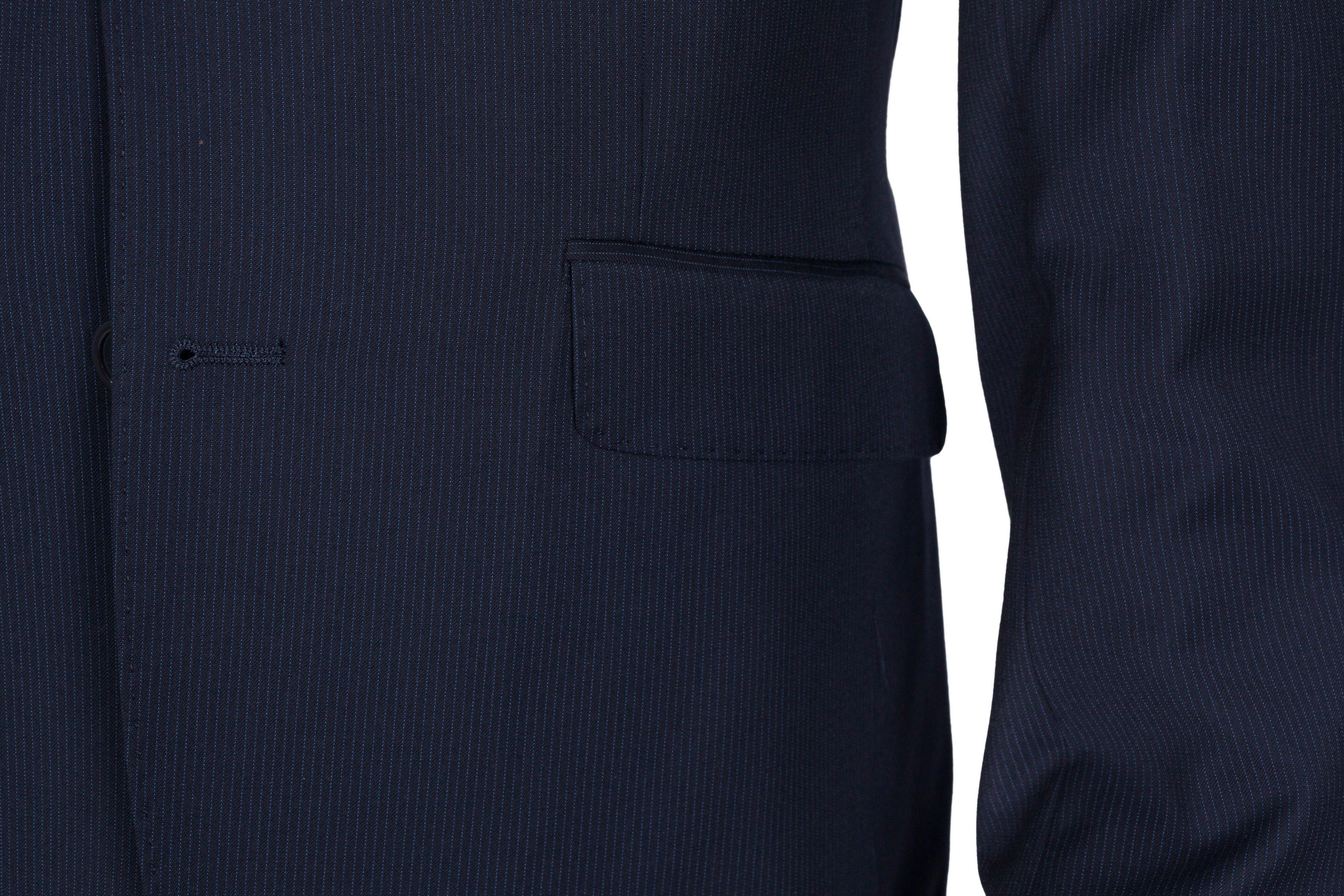 Costum bleumarin dark cu dungi bleu Grazie Filipeti