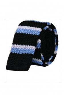 Cravata crosetata cu dungi negre, bleu si alb marca Grazie Filipeti