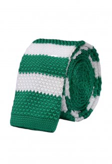 Cravata crosetata verde cu dungi albe marca Grazie Filipeti