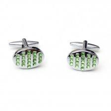 Butoni pentru camasa ovali cu pietre verzi