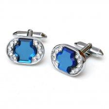 Butoni albastri cu cristale albe