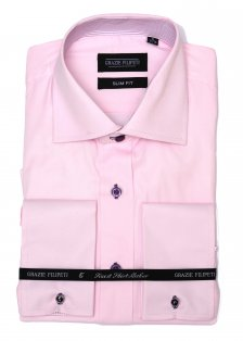 Camasa barbati Slim Fit pentru butoni roz pal