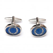 Butoni eleganti pentru camasa cu cristale albe si sidef albastru