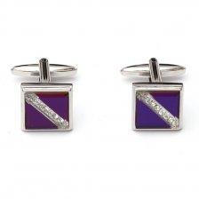 Butoni patrati pentru camasa cu cristale albe si sidef violet