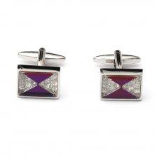 Butoni pentru camasa eleganti cu cristale si sidef violet
