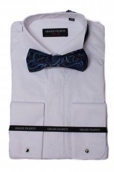 Camasa alba Slim Fit pentru ceremonie din poplin marca Grazie Filipeti