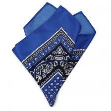 Batista de buzunar albastra cu imprimeu alb