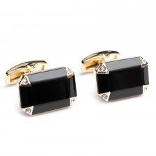 Butoni camasa aurii cu cristale albe si sidef negru
