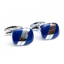Butoni camasa argintii cu sidef albastru