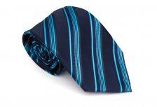 Cravata clasica albastru cu dungi turcoaz - Grazie Filipeti