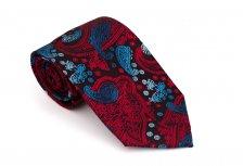 Cravata clasica neagra cu model paisley rosu si albastru - Grazie Filipeti