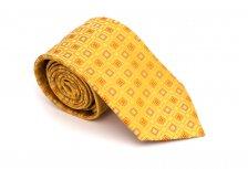 Cravata clasica galbena cu modele geometrice - Grazie Filipeti