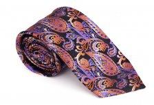 Cravata clasica mov inchis cu model paisley - Grazie Filipeti