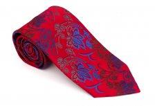 Cravata clasica rosie cu model floral - Grazie filipeti