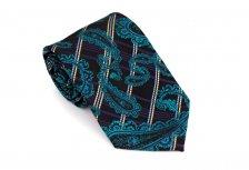 Cravata neagra cu model paisley turcoaz - Grazie Filipeti