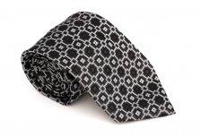Cravata clasica neagra cu patrate albe si gri - Grazie Filipeti