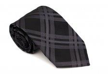 Cravata clasica neagra cu carouri gri - Grazie Filipeti