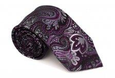Cravata clasica negru cu motiv floral violet Grazie Filipetui