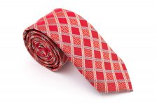Cravata slim rosu in carouri Grazie Filipeti