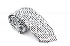 Cravata slim alb cu negru coffee print Grazie Filipeti