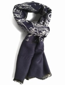 Fular casmir bleumarin cu model paisley
