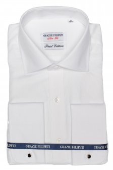 Camasa alba Slim Fit mother of pearl sare si piper pentru butoni Grazie Filipeti
