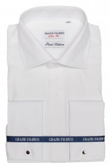 Camasa alba Slim Fit pentru butoni mother of pearl cu model discret Grazie Filipeti Filipet