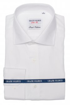 Camasa alba Slim Fit mother of pearl cu model in dungi Grazie Filipeti