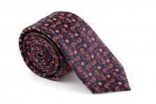 Cravata Slim bleumarin Paisley