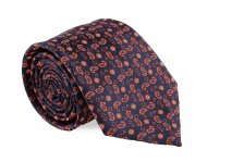 Cravata neagra cu model Paisley orange