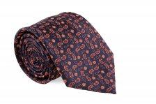 Cravata neagra cu model Paisley orange