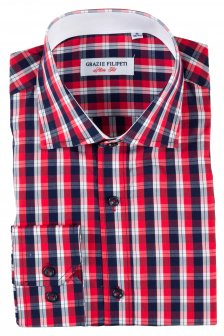 Camasa Slim Fit Red Squares