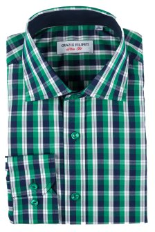 Camasa Slim Fit Green Squares