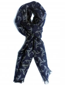 Fular casmir bleumarin cu model floral