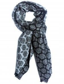 Fular casmir negru cu model floral gri