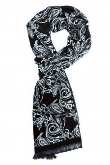 Esarfa neagra din casmir cu modele paisley marca Grazie Filipeti
