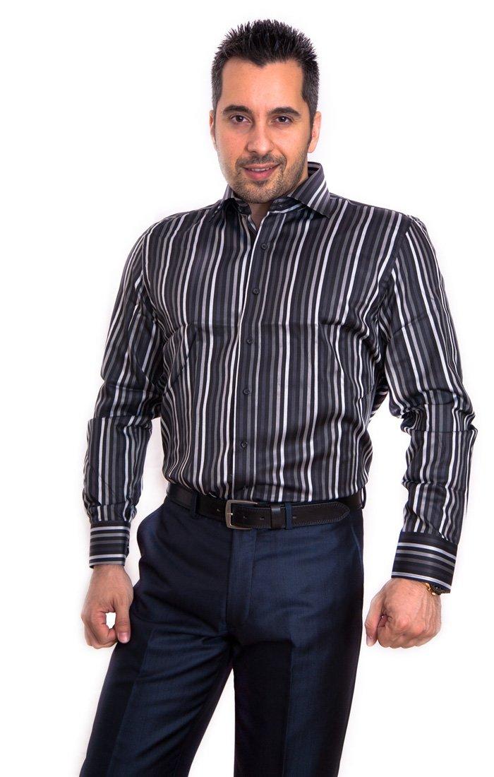 Camasa Slim Fit negru cu dungi - Grazie Filipeti
