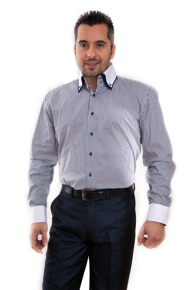 Camasa Slim Fit alba cu dungi negre marca Grazie Filipeti