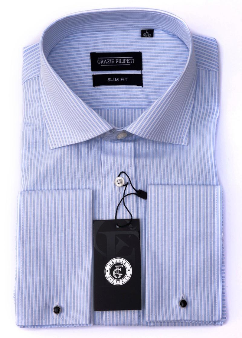 Camasa Slim Fit cu butoni bleu cu dungi - Grazie Filipeti